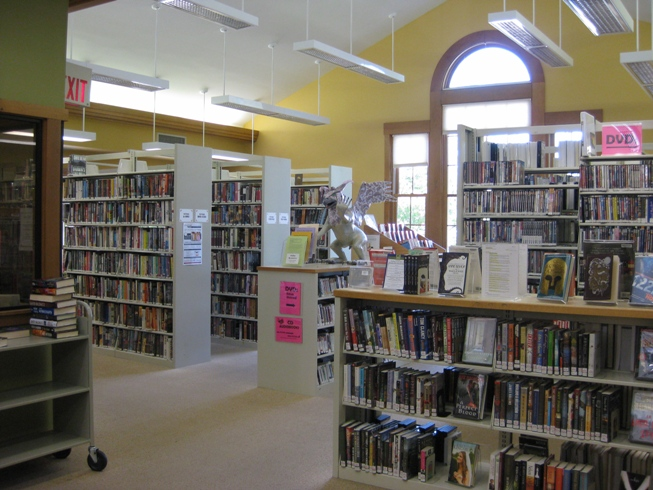 Inside of Burnham memorial Library with books on shelves