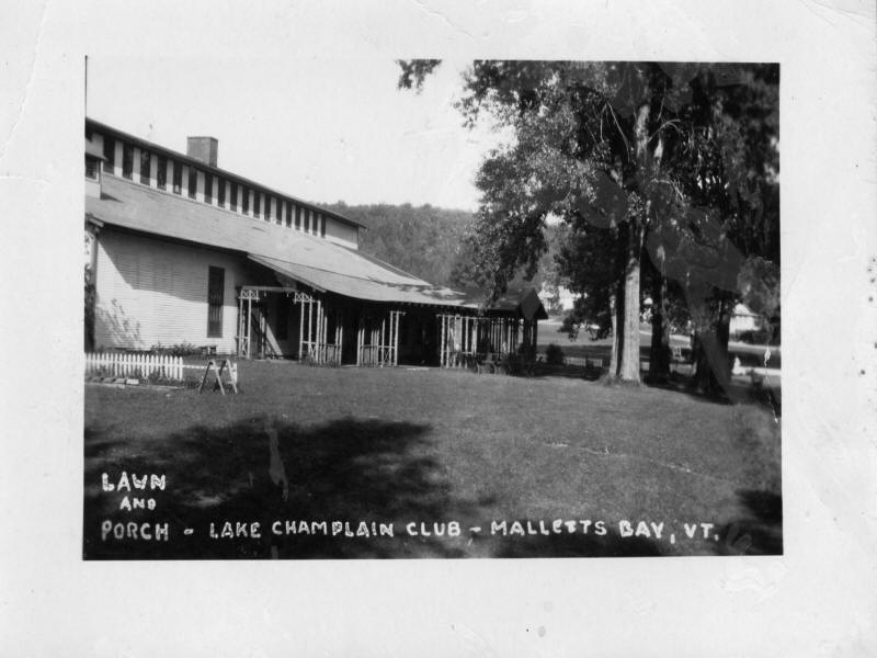 Lawn and porch of Lake Champlain Club