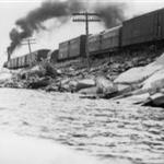 A train on the causeway in 1949